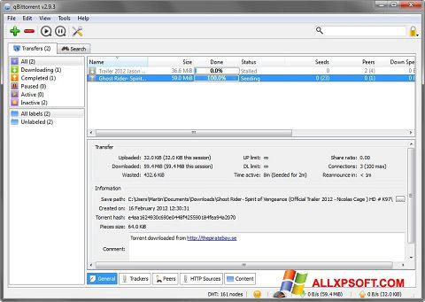Ảnh chụp màn hình qBittorrent cho Windows XP