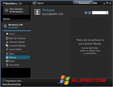 Ảnh chụp màn hình BlackBerry Link cho Windows XP