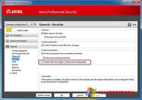 Ảnh chụp màn hình Avira Professional Security cho Windows XP