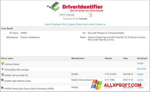 Ảnh chụp màn hình Driver Identifier cho Windows XP