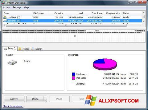 Ảnh chụp màn hình Defraggler cho Windows XP