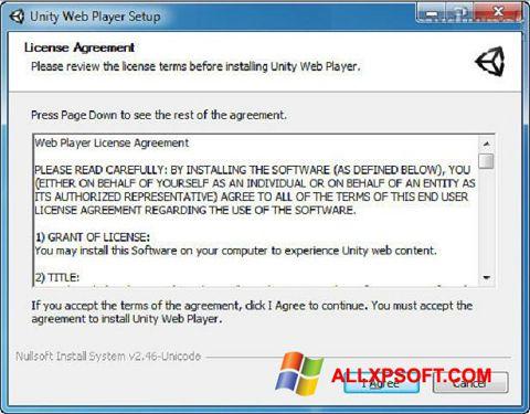 Ảnh chụp màn hình Unity Web Player cho Windows XP
