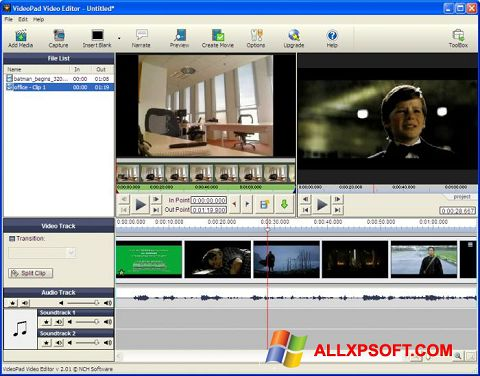 Ảnh chụp màn hình VideoPad Video Editor cho Windows XP