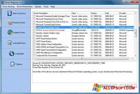 Ảnh chụp màn hình Driver Magician cho Windows XP