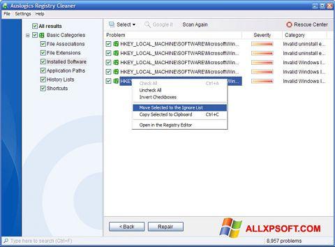 Ảnh chụp màn hình Auslogics Registry Cleaner cho Windows XP
