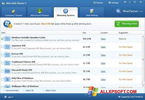 Ảnh chụp màn hình Wise Disk Cleaner cho Windows XP