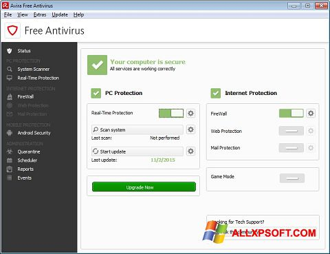 Ảnh chụp màn hình Avira Free Antivirus cho Windows XP
