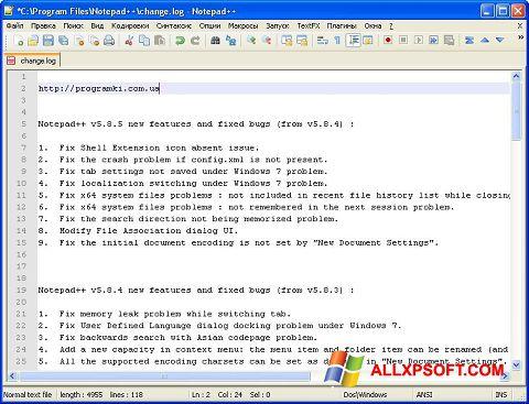 Ảnh chụp màn hình Notepad++ cho Windows XP