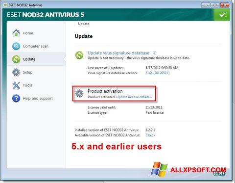 Ảnh chụp màn hình ESET NOD32 cho Windows XP