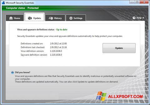 Ảnh chụp màn hình Microsoft Security Essentials cho Windows XP